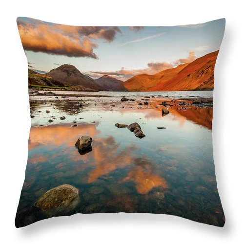 Sunrise Throw Pillow featuring the photograph Sunset At Wast Water #2, Wasdale, Lake District, England by Anthony Lawlor