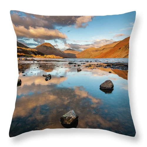 Sunrise Throw Pillow featuring the photograph Sunset at Wast Water #3, Wasdale, Lake District, England by Anthony Lawlor