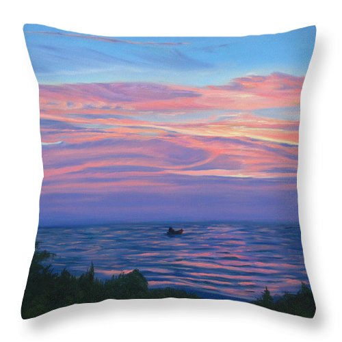 Seascape Throw Pillow featuring the painting Sunset Bay by Lea Novak