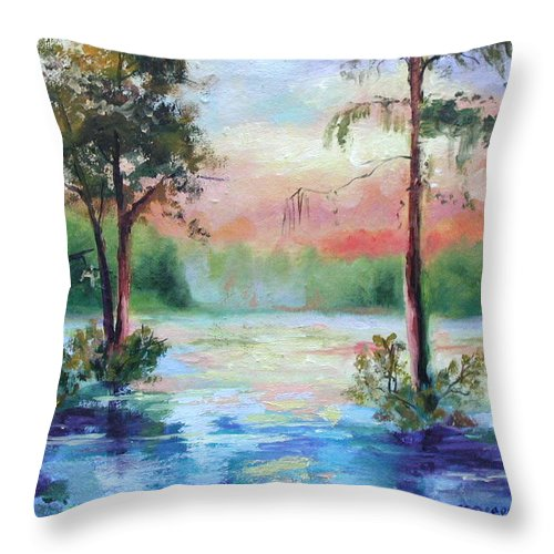 Sunset Throw Pillow featuring the painting Sunset Bayou by Ginger Concepcion