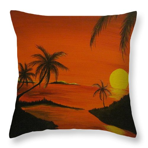 Beach Throw Pillow featuring the painting Sunset Beach by Ashley Warbritton