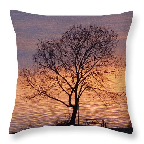 Sunset Throw Pillow featuring the photograph Sunset Bench by Angela Wright