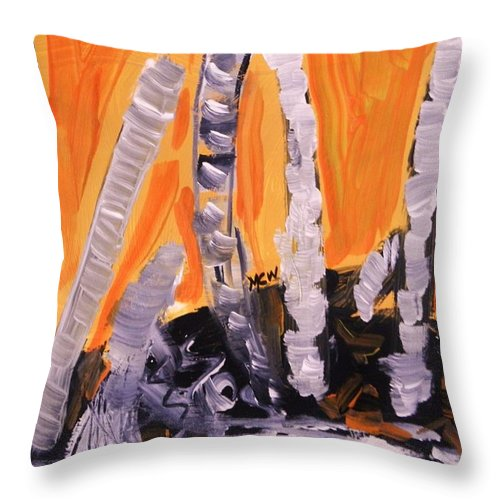 Landscape Throw Pillow featuring the painting Sunset Birches by Mary Carol Williams