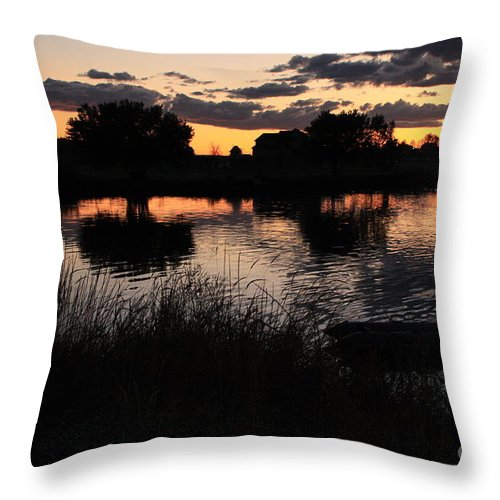 Sunset Throw Pillow featuring the photograph Sunset Boat by Carol Groenen