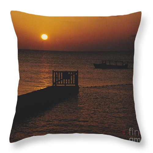 Sunsets Throw Pillow featuring the photograph Sunset Boat by Michelle Powell