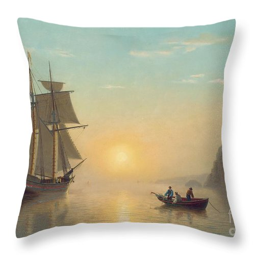 Boat Throw Pillow featuring the painting Sunset Calm in the Bay of Fundy by William Bradford