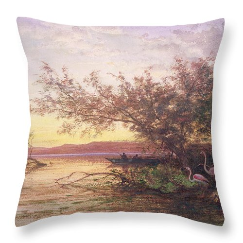 Flamingo Throw Pillow featuring the painting Sunset, Camargue by Felix Ziem