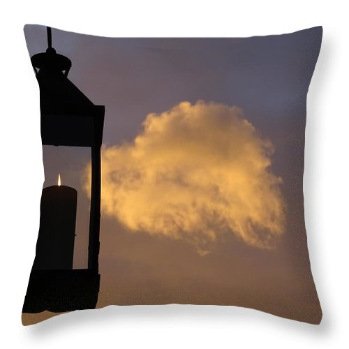Candle Throw Pillow featuring the photograph Sunset Candle by Marc Dettloff