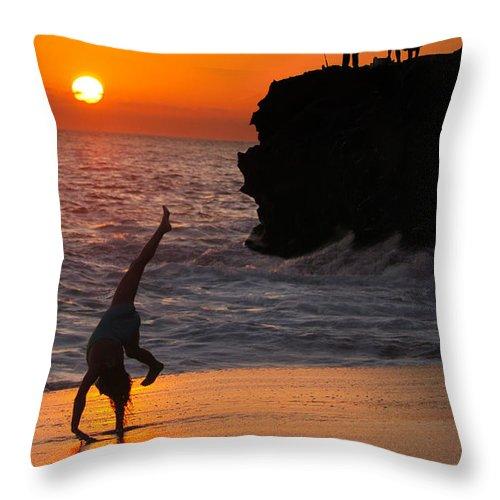 Beach Throw Pillow featuring the photograph Sunset Cartwheel by Jill Reger
