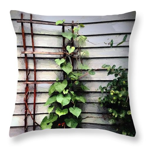 Vines Throw Pillow featuring the painting Sunset Climbers by RC DeWinter