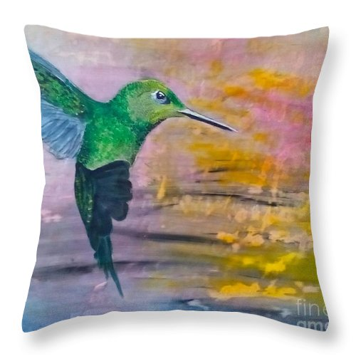 Hummingbird Throw Pillow featuring the painting Sunset Dancer by J Bauer
