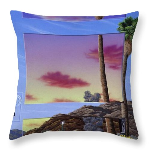 Landscape Throw Pillow featuring the painting Sunset Door by Snake Jagger