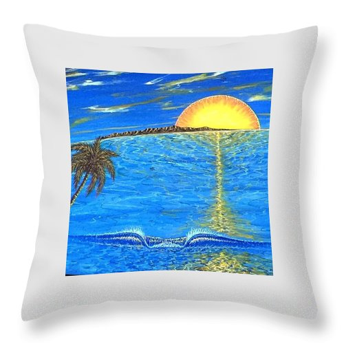 Sunset Dream Throw Pillow featuring the painting Sunset Dream by Paul Carter