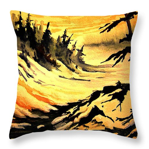 Sunset Extreme Throw Pillow featuring the painting Sunset extreme by Jo Smoley