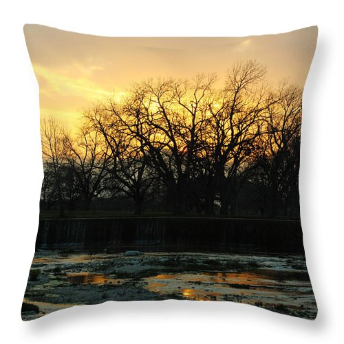 Sunset Throw Pillow featuring the photograph Sunset Falls by Deana Connell