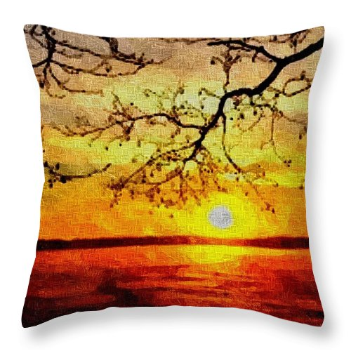 Announcement Throw Pillow featuring the painting Sunset For Abigail Browne H B by Gert J Rheeders