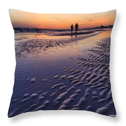 Sand Throw Pillow featuring the photograph Sunset Fort Myers Beach Florida by Edward Fielding