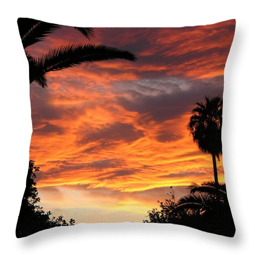 Sunset Throw Pillow featuring the photograph Sunset God's Fingers In Clouds by Diane Greco-Lesser