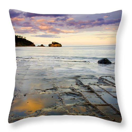 Tesselated Pavement Throw Pillow featuring the photograph Sunset Grid by Mike Dawson