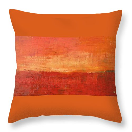 Abstract Throw Pillow featuring the painting Sunset by Habib Ayat