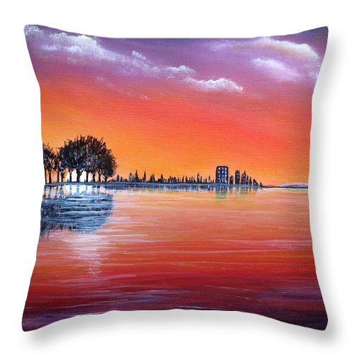 Sunset Throw Pillow featuring the painting Sunset Illusion by Lisa Cini