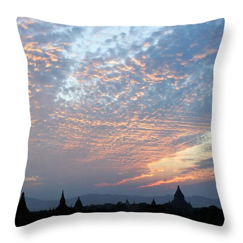 Asia Throw Pillow featuring the photograph Sunset In Bagan by Michele Burgess