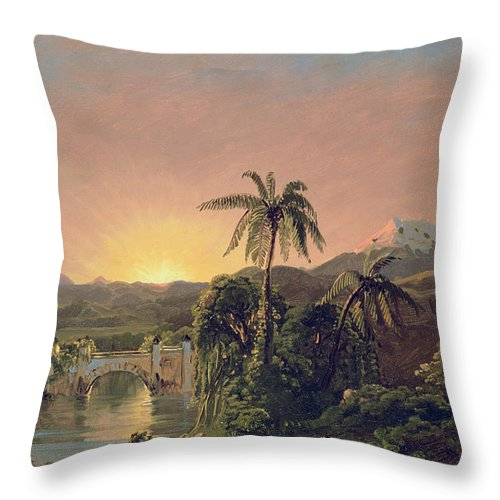 Sunset Sunset In Equador (oil On Canvas) By Frederic Edwin Church (1826-1900) Throw Pillow featuring the painting Sunset In Equador by Frederic Edwin Church