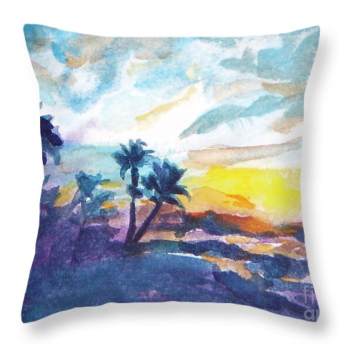 Landscape Throw Pillow featuring the painting Sunset In Hawaii by Jan Bennicoff