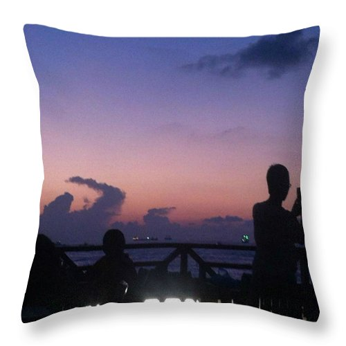 Sunset Throw Pillow featuring the photograph Sunset In Maldives by Aly Dieaaeldeen
