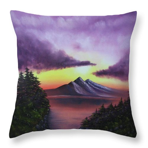 Sunset Throw Pillow featuring the painting Sunset In Mountains Original Oil Painting by Natalja Picugina