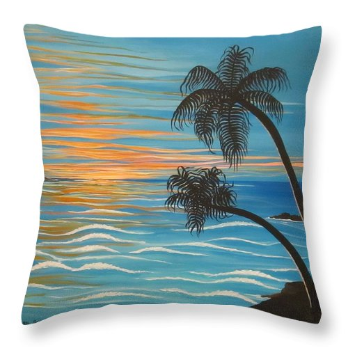 Paradise Throw Pillow featuring the painting Sunset In Paradise by Carol Sabo