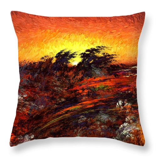 Abstract Digital Painting Throw Pillow featuring the digital art Sunset In Paradise by David Lane