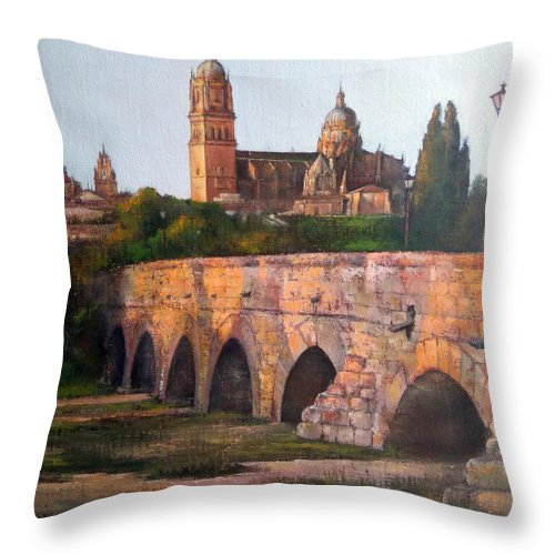 Sunset Throw Pillow featuring the painting Sunset in Salamanca by Tomas Castano