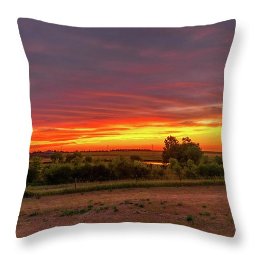 Sunset Throw Pillow featuring the photograph Sunset In South Dakota by Dick McVey