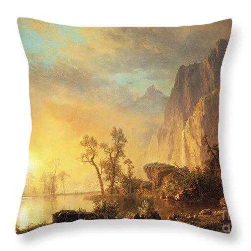 Bierstadt Throw Pillow featuring the painting Sunset in the Rockies by Albert Bierstadt