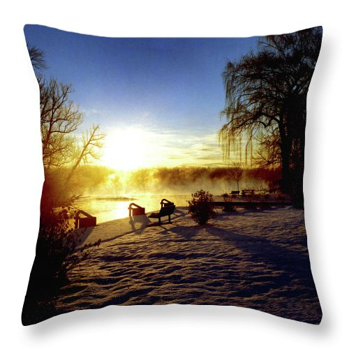 Morning Throw Pillow featuring the photograph Sunset In Winter by Joshua Macneil