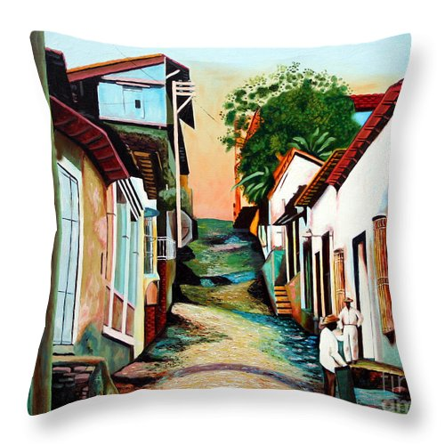 Cuban Art Throw Pillow featuring the painting Sunset by Jose Manuel Abraham