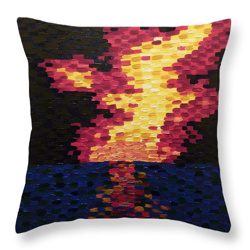 Sun Throw Pillow featuring the painting Sunset by Joshua Redman