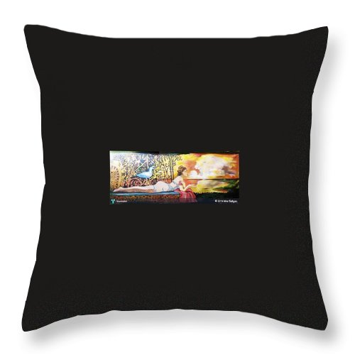 Throw Pillow featuring the painting Sunset Lady by Mar Saligao
