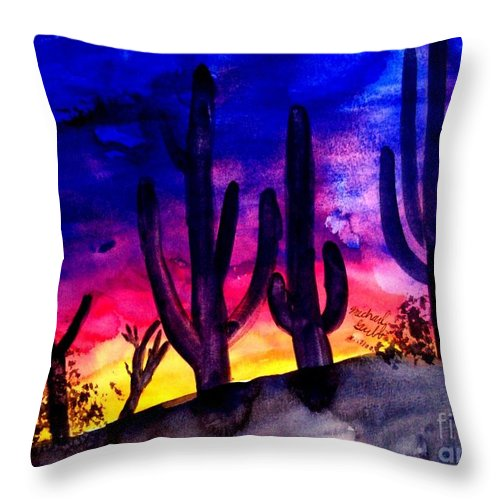 Colorful Throw Pillow featuring the painting Sunset On Cactus by Michael Grubb