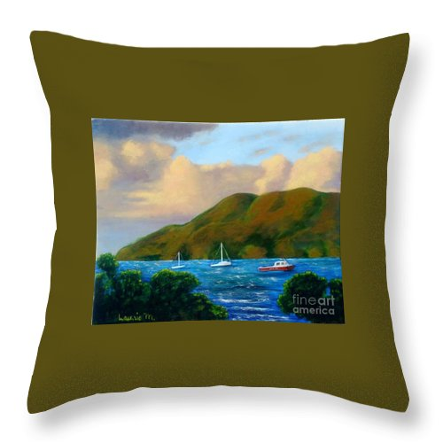 Sunset Throw Pillow featuring the painting Sunset On Cruz Bay by Laurie Morgan