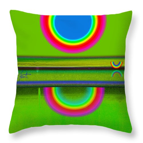 Reflections Throw Pillow featuring the painting Sunset On Green by Charles Stuart