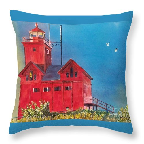Lakes Throw Pillow featuring the painting Sunset On Holland Light by LeAnne Sowa