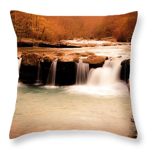 Waterfall Throw Pillow featuring the photograph Sunset On King's River by Tamyra Ayles