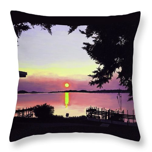 Sunset On Lake Throw Pillow featuring the painting Sunset On Lake Dora by Judy Swerlick