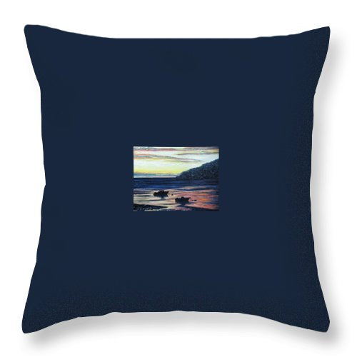 Maine Throw Pillow featuring the painting Sunset On Maine Coast by Richard Nowak