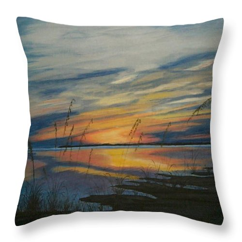 Sunset Throw Pillow featuring the painting Sunset On St. Andrew by Nancy Nuce