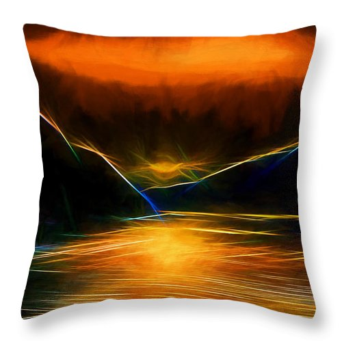 Alaska Throw Pillow featuring the digital art Sunset On The Bay by John Haldane