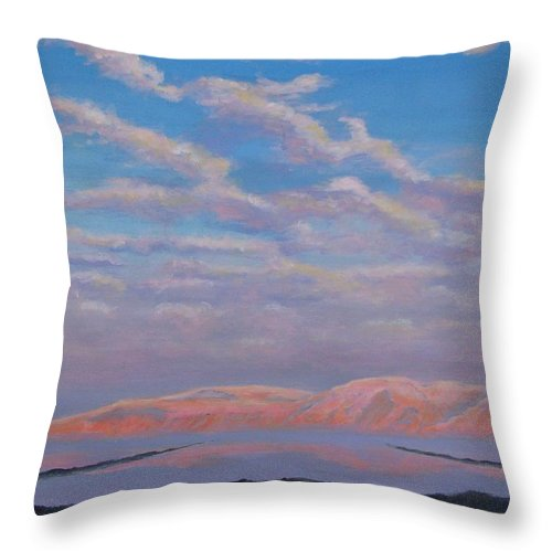 Sunset Throw Pillow featuring the painting Sunset On The Dead Sea In Israel by Art Nomad Sandra Hansen