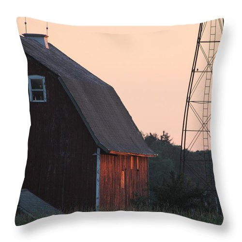 Farm Throw Pillow featuring the photograph Sunset On The Farm by Lauri Novak